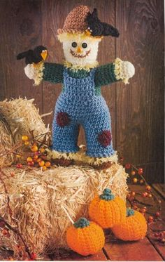 "CROCHET PATTERN Fall Autumn Thanksgiving ""Scarecrow Pumpkins"