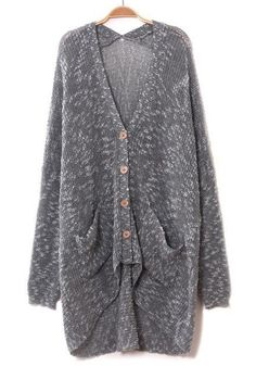 Grey Pockets Irregular Bat Sleeve Cotton Blend Cardigan