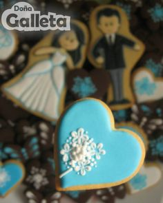 Galletas decoradas. Nos vamos de boda Sugar, Cookies, Desserts, Decorated Cookies, Lets Go, Wedding, Crack Crackers, Tailgate Desserts, Deserts