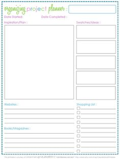 FREE organizing project planner - Clean Mama Printables