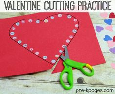 Valentine Fine Motor Scissor Skills with Stickers for preschool and kindergarten.