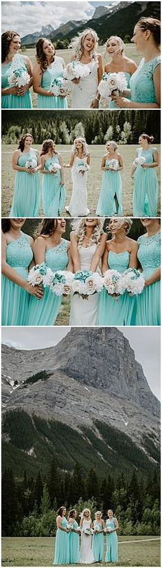 Quarry Lake Park wedding in Canmore. Mountain wedding in Canmore. Blue Bridesmaid Dresses, Bridesmaids, Quarry Lake, Bright Wedding Colors, Theatre Wedding, Wedding Photos, Party Photos, Lake Park, Park Weddings