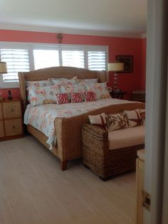 Benjamin Moore Coral gables paint with white plantation shutters. Beautiful water views, living in south Florida