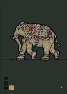 Indian Elephant Greeting Card Bugart - for sale online Pichwai Paintings, Indian Art Paintings, Abstract Paintings, Kalamkari Painting, Madhubani Painting, Arte Tribal, Tribal Art, Indian Elephant Art, Elephant Elephant