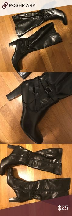 Nicole black tall faux leather zip boots Nicole black tall faux leather zip boots. Size 12M. Worn on 1 occasion and was too big. Perfect staple boot for fall and winter. I love reasonable offers, bundle and save! 🖤🖤 Nicole Shoes Heeled Boots