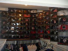A cap storage idea from New Era fan Jeff B. Ball Cap Storage, Hat Storage, Closet Storage, Hat Display, New Era Fitted, Golf Apparel, New Era Hats, Glam Room, First Apartment