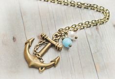 Nautical Anchor Jewelry Anchor Necklace Nautical Jewelry Vintage Pearl Turquoise Czech Glass Preppy Beach Wedding on Etsy, $22.00