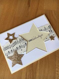 Entzuckend Weihnachtskarte Selbst Gemacht Noten Sterne