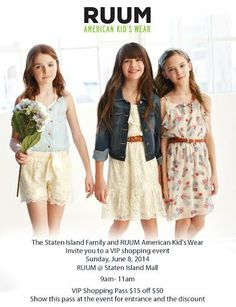 JOIN The Staten Island Family (www.thestatenislandfamily.com) June 8, at Private Shopping Event RUUM American Kid's Wear #MakeRuum4Summer #AD
