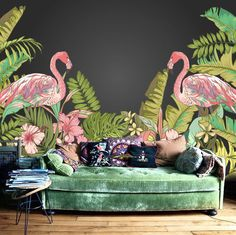 """Tropical Flamingo Wallpaper Hawaii Plant Forest Summer Holiday Wall Mural Wall Paper Trees Leaves Green Nature 55.5"""" x 36.5"""" by DreamyWall on Etsy https://www.etsy.com/listing/234343236/tropical-flamingo-wallpaper-hawaii-plant"""
