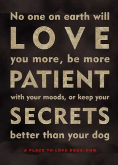 No one on earth will love you more, be more patient with your moods, or keep your secrets better than your dog. So if you have a dog, love it and treat it good. I Love Dogs, Puppy Love, Cute Dogs, Love You More, Just For You, My Love, Petit Basset Griffon Vendeen, Earth Quotes, Better Than Yours