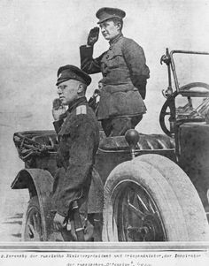 When I was a baby, he held me in his arms: Aleksander Kerensky, the last Prime Minister of Russia and Supreme Commander-in-Chief of Russian Army before the Bolshevik Revolution, saluting marching troops from his staff car. Russian Revolution 1917, February Revolution, Wilhelm Ii, Kaiser Wilhelm, World War One, First World, Bolshevik Revolution, Imperial Russia, Red Army