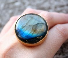 Big Blue Labradorite Ring  Round Ring  Super Bold One of by OhKuol