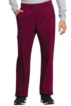 This Men's mid rise straight leg pant features a zip fly opening, and an elastic waistband with a functional drawstring. Cherokee Scrubs, Back Patch, Straight Leg Pants, Workwear, Revolution, Pajama Pants, Pencil, Stains, Tech