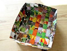 There are a few different ways you can make a recycled magazine basket out of old magazines. This basket weave design is probably the simplest and quickest. Diy Crafts Magazine, Recycled Magazine Crafts, Recycled Magazines, Recycled Crafts, Paper Basket Weaving, Weaving For Kids, Basket Crafts, Handmade Headbands, Handmade Crafts