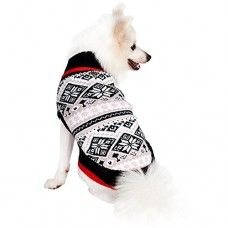 "Blueberry Pet Sweaters Clothes For Dogs Nordic Pattern Inspired Fair Isle Snowflakes Dog Sweater 8"" Back Length, X-Small"