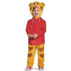 He can be the adorable Daniel Tiger this Halloween. The Daniel Tiger Deluxe Costume features a tiger striped jumpsuit with a red jacket and headpiece, attached watch and detachable belly. Daniel Tiger Costume, Baby Tiger Costume, Tiger Halloween Costume, Superhero Halloween, Classic Halloween Costumes, Theme Halloween, Halloween Ideas, Halloween 2015, Halloween Tricks