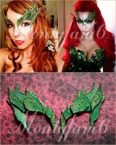 Poison Ivy Mask Leaves GREEN w/ Glitter Trim Leaf Costume Uma