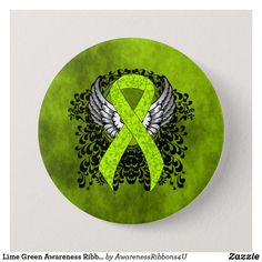 Lime Green Awareness Ribbon with Wings Pinback Button Firefighter Quotes, Volunteer Firefighter, Firefighters, Volunteer Gifts, Volunteer Appreciation, Fundraising Events, Fundraising Ideas, Green Ribbon, Awareness Ribbons