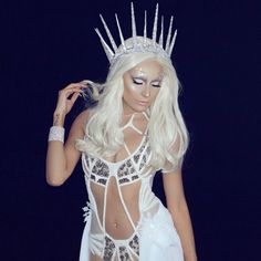 Happy Halloween  my goal was to look like lady gaga from AHS if she were to be an ice queen   Outfit styled by @wilfordlenov  Outfit Pulled from @falgunipeacock & @shanepeacock  This amazing wig done by the one and only @hairhegoes by desimakeup