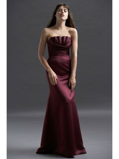Satin Strapless Scalloped Neckline Draped Bodice Floor-Length Bridesmaid Dress