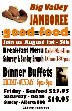 Big Valley Jamboree specials Breakfast Menu, Best Western, Bbq, Brunch, Events, Entertaining, Barbecue, Happenings, Barbacoa