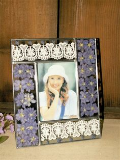 Leaded Glass Photo Frame w/REAL pressed flowers and by dagutzyone, $20.00