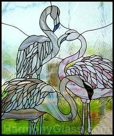 Stained Glass Pattern CKE-137 Flamingos