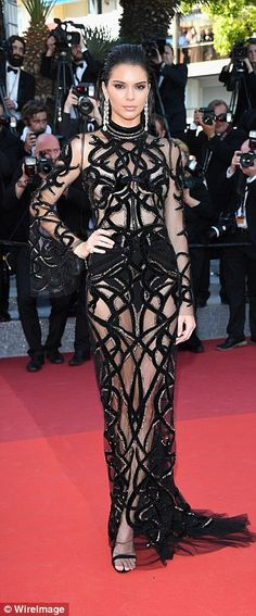 Smouldering Kendall Jenner flashes her incredibly pert derrière in show-stopping sheer gown as she storms the red carpet at star-studded Cannes screening | Daily Mail Online