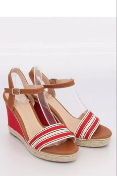 Ψηλοτάκουνες εσπαντρίγιες με ρίγες - Κόκκινο Espadrilles, Sandals, Shoes, Fashion, Espadrilles Outfit, Slide Sandals, Moda, Shoes Sandals, Zapatos