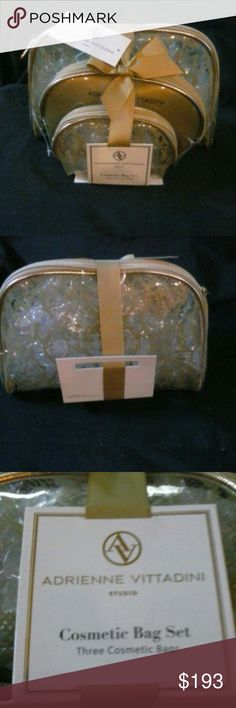 NWT Adrienne Vittadini Cosmetic Bag Set! 3 Bag Set CLEAR w/gold design but see through if u travel or not these are attractive and functional at a great price and gift item! Adrienne Vittadini Bags Cosmetic Bags & Cases