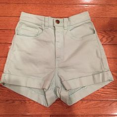 American Apparel High-Waist Cuff Short!! Brand new American Apparel stretch bull denim high-waist cuff short! Light turquoise/seafoam green color! Size 24-25! Size 0-2 numerical! Last picture is reflective of color! American Apparel Shorts Jean Shorts