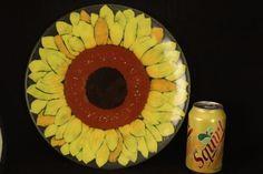 45c081c5ac12 Vtg 1994 Duree Design Yellow Daisy Sun-Flower Art Glass Platter Plate Signed