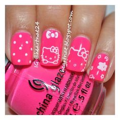 Nail art i like / Hello Kitty nails found on Polyvore