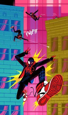 Into the Spider Verse Art Show Opening Near Los Angeles CA Marvel Comics, Marvel Dc, Spiderman Kunst, 2160x3840 Wallpaper, Sara Kipin, Miles Morales Spiderman, Spider Gwen, Spider Verse, Amazing Spiderman