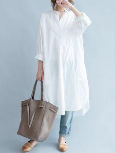 Plus Size Casual Women Pocket Slit White Blouse - Banggood Mobile