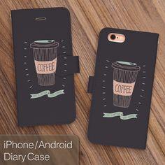 送料無料☆【iPhone/Android対応】おしゃれなコーヒー柄 手帳型スマートフォンケース