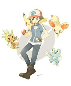Ash with the Unova starters (Pokemon)