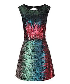 This Green & Pink Sequin Mae Sleeveless Dress by Louche is perfect! #zulilyfinds