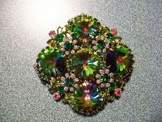 Huge Juliana Watermelon Rivoli Brooch with Green and Aurora Borealis Rhinestones | eBay