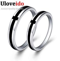 a581890bf Find More Rings Information about Uloveido Wedding 925 Sterling Silver  Wedding Bands Matching Couples Pair Rings Set with Black Cross…