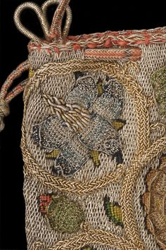 Linen sweet bag with silk embroidery (detail), English, 1600–30  © CSG CIC Material(s): silk, linen, metal  Size/ Weight: overall: 330 mm x 170 mm x 100 mm  Accession No: 29.310 Glasgow Museums