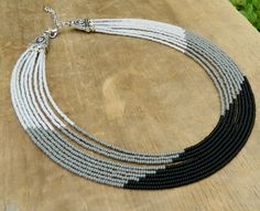 One of a kind, black and grey short seed bead multi strand cascading necklace. by EntwineArt on Etsy