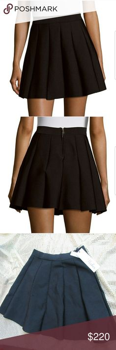 Parker Solid A-line Pleated Skirt Dress Casual Banded waist  Zip back closure  About 16.75 inches from waist down Rylon/Nylon Parker Skirts A-Line or Full