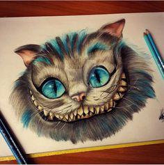 Cheshire cat by on DeviantArt Realistic Drawings, Art Drawings Sketches, Disney Drawings, Cool Drawings, Cheshire Cat Drawing, Cheshire Cat Tattoo, Alice In Wonderland Drawings, Color Pencil Art, Disney Art