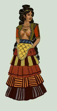Templo Viejo (2,100-1,600 aC) moda femenina minoica, por Tadarida