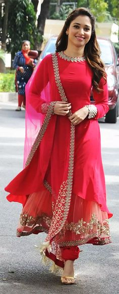 The beautiful Tamanna Bhatia spotted in a lovely anarkali... Source: ap7am.com Anarkali Dress, Pakistani Dresses, Indian Dresses, Indian Outfits, Anarkali Suits, Patiala Salwar, Dress Indian Style, Indian Wear, Indian Designer Outfits