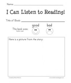 """Exactly what i need for my """"Listen to Reading"""" workshop in Daily 5 Reading Response Form - FREEBIE! Kindergarten Centers, Teaching Kindergarten, Teaching Reading, Free Reading, Guided Reading, Kindergarten Listening Center, Kindergarten Reading Strategies, Kindergarten Library Lessons, Kindergarten Assessment"""