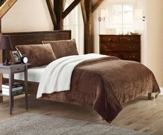 Chic Home Chic Home Evie 7-Piece Plush Microsuede Sherpa Blanket, King, Brown, Sheet Set and Pillow Shams Included