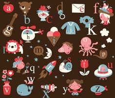 LOTS of fabric and paper prints and patterns on this site, beautifuf stuff!  Dutch and English alphabet! fabric by bora on Spoonflower